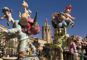 Festivities in Spain: San José Fallas celebration in , Valencia. Study in Spa...